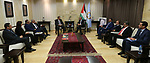 Palestinian Prime Minister Mohammad Ishtayeh meets with members of supreme presidential committee for church affairs, at his headquarter in the West Bank city of Ramallah, April 24, 2019. Photo by Prime Minister Office