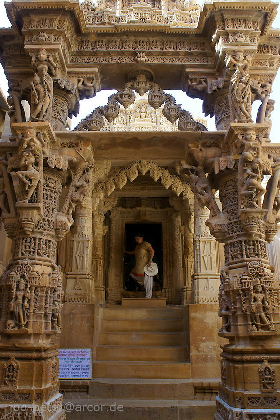 entrance of Chantraprabhu Jain temple in Fort Jaisalmer, Rajastan, India