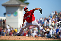 Boston Red Sox relief pitcher Sean O'Sullivan (62) delivers a pitch during a Spring Training game against the Pittsburgh Pirates on March 9, 2016 at McKechnie Field in Bradenton, Florida.  Boston defeated Pittsburgh 6-2.  (Mike Janes/Four Seam Images)
