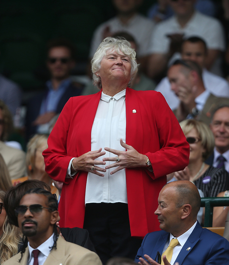 Golfer Laura Davies is introduced to the Centre Court crowd<br /> <br /> Photographer Rob Newell/CameraSport<br /> <br /> Wimbledon Lawn Tennis Championships - Day 6 - Saturday 6th July 2019 -  All England Lawn Tennis and Croquet Club - Wimbledon - London - England<br /> <br /> World Copyright © 2019 CameraSport. All rights reserved. 43 Linden Ave. Countesthorpe. Leicester. England. LE8 5PG - Tel: +44 (0) 116 277 4147 - admin@camerasport.com - www.camerasport.com