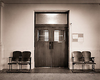 The doors of a courtroom.