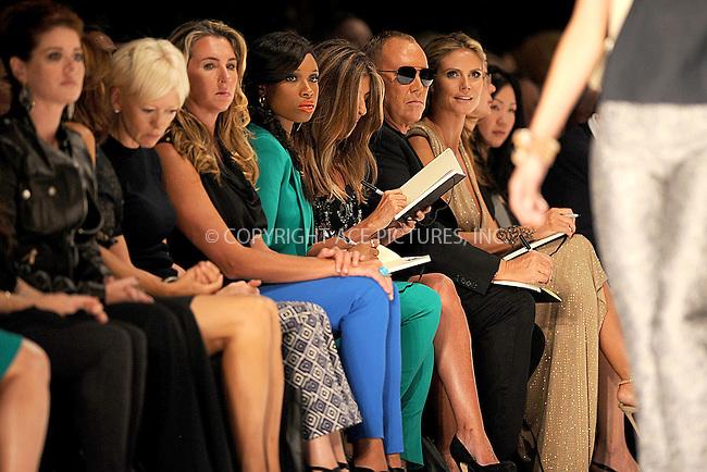 WWW.ACEPIXS.COM . . . . . .September 7, 2012...New York City.....Model Heidi Klum, designer Michael Kors, singer Jennifer Hudson and Nina Garcia watch the runway at the Project Runway Spring 2013 fashion show during Mercedes-Benz Fashion Week on September 7, 2012 ...Please byline: KRISTIN CALLAHAN - ACEPIXS.COM.. . . . . . ..Ace Pictures, Inc: ..tel: (212) 243 8787 or (646) 769 0430..e-mail: info@acepixs.com..web: http://www.acepixs.com .