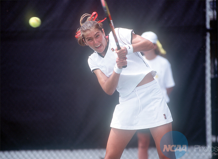 29 MAY 1998: Ania Bleszynski of Stanford comopetes in the signles semifinals during the Women's Division I Tennis Championship held at the University of Notre Dame in Notre Dame, IN.  Joe Raymond/NCAA Photos.