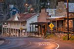 Downtown historic gold-rush era buildings at dusk, Historic Highway 49, Amador City, Calif.