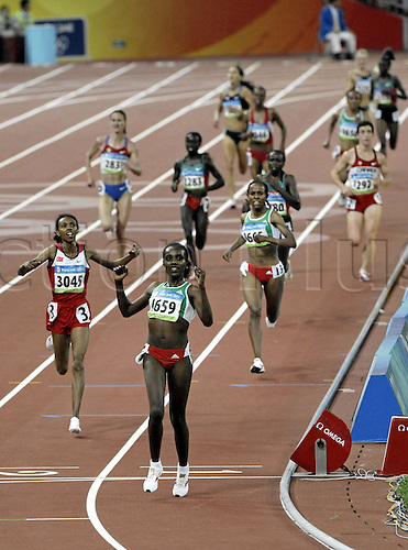 22 August 2008: Ethiopian runner Tirunesh Dibaba (ETH) celebrates winning the women's 5000m Final during the Beijing Olympics Photo: Leo Mason/Action Plus..olympics games 080822 beijing winner athletics joy celebration