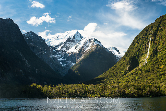 Mount Pembroke in Milford Sound with cascading waterfall, Fiordland National Park, Southland, UNESCO World Heritage Area, New Zealand, NZ