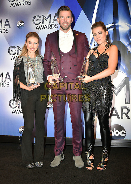 04 November 2015 - Nashville, Tennessee - Maddie Marlow, TK McKamy and Tae Dye, Maddie &amp; Tae. 49th Annual CMA Awards, CMA Awards 2015, Country Music's Biggest Night, held at Bridgestone Arena. <br /> CAP/ADM<br /> &copy;ADM/Capital Pictures
