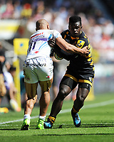 Christian Wade of Wasps is tackled by Olly Woodburn of Exeter Chiefs during the Premiership Rugby Final at Twickenham Stadium on Saturday 27th May 2017 (Photo by Rob Munro)