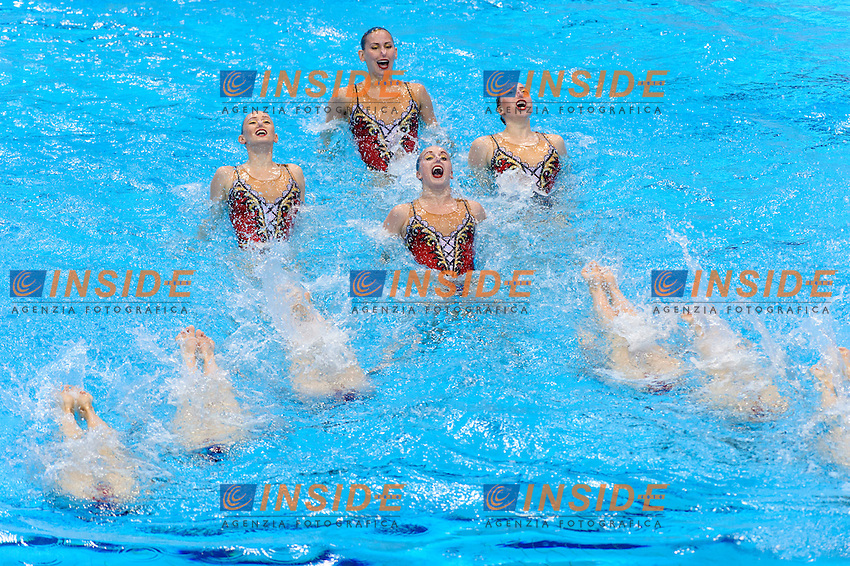 RUSSIA RUS Gold Medal <br /> KOLESNICHENKO Svetlana VALITOVA Darina PATSKEVICH Aleksandra SHISHKINA Alla SHUROCHKINA Maria CHIGIREVA Vlada TOPILINA Gelena PROKOFYEVA Elena <br /> NIZAMOVA Liliia GOLIADKINA Marina <br /> Free Combination Final <br /> London, Queen Elizabeth II Olympic Park Pool <br /> LEN 2016 European Aquatics Elite Championships <br /> Synchronized Swimming <br /> Day 04 12-05-2016<br /> Photo Andrea Staccioli/Deepbluemedia/Insidefoto
