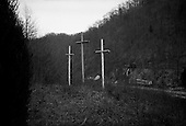 Sarah Ann, West Virginia.USA .January 17, 2005..Crosses overlooking Devil Anse Hatfield's grave. Captian William Anderson (Devil Anse) Hatfield's grave was dedicated as a national monument in December of 1995. Devil formed a band of guerilla's in 1863 that began the infamous American feud between the Hatfield and McCoy families which end around 1891, the death toll numbered 13.