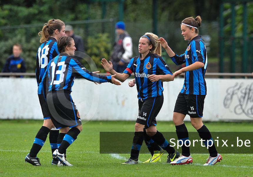 Club Brugge Dames : vreugde bij het doelpunt van Angelique De Wulf.foto DAVID CATRY / Vrouwenteam.be