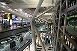 Modern architecture of Terminal Five, Heathrow airport, London, England, UK