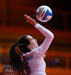 November 22, 2019; Rapid City, SD, USA; Brynn Askew #5 of Sioux Falls O'Gorman serves against Huron at the 2019 South Dakota State Volleyball Championships at the Rushmore Plaza Civic Center in Rapid City, S.D. (Richard Carlson/Inertia)
