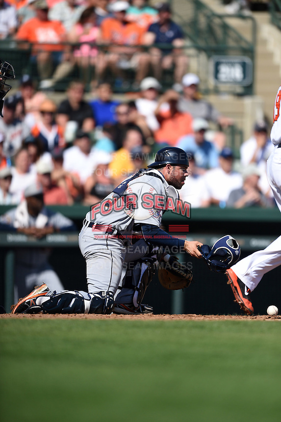 Detroit Tigers catcher Manny Pina (79) during a Spring Training game against the Baltimore Orioles on March 4, 2015 at Ed Smith Stadium in Sarasota, Florida.  Detroit defeated Baltimore 5-4.  (Mike Janes/Four Seam Images)