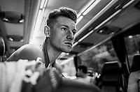 Ryan Mullen (IRL/Trek-Segafredo) in the teambus pre-warmup <br /> <br /> UCI MEN'S TEAM TIME TRIAL<br /> Ötztal to Innsbruck: 62.8 km<br /> <br /> UCI 2018 Road World Championships<br /> Innsbruck - Tirol / Austria