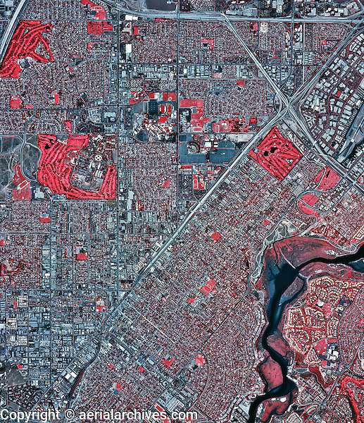 historical infrared aerial photograph of Costa Mesa, California, 2002