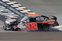 17 June 2011: Matt Merrell limps across the start/finish line after crashing in the ARCA RainEater Wiper Blades 200 at Michigan International Speedway in Brooklyn, Michigan. (Photo by Jeff Speer :: SpeerPhoto.com)