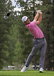 Dennny McCarthy swings during the Barracuda Championship PGA golf tournament at Montrêux Golf and Country Club in Reno, Nevada on Friday, July 26, 2019.