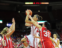 Wisconsin's Ashley Thomas takes a shot at the basket, as the Badger women's basketball team tops UW-River Falls 71-38 Sunday at the Kohl Center in Madison