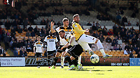 Bolton Wanderers' Gary Madine battles with Port Vale's Ryan Taylor in the penalty area<br /> <br /> Photographer Stephen White/CameraSport<br /> <br /> The EFL Sky Bet League One - Port Vale v Bolton Wanderers  - Saturday 22nd April 2017 - Vale Park - Burslem<br /> <br /> World Copyright &copy; 2017 CameraSport. All rights reserved. 43 Linden Ave. Countesthorpe. Leicester. England. LE8 5PG - Tel: +44 (0) 116 277 4147 - admin@camerasport.com - www.camerasport.com