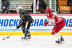 ADRIAN, MI - MARCH 18: Kristin Lewicki (25) of Adrian College skates with the puck during the Division III Women's Ice Hockey Championship held at Arrington Ice Arena on March 19, 2017 in Adrian, Michigan. Plattsburgh State defeated Adrian 4-3 in overtime to repeat as national champions for the fourth consecutive year. by Tony Ding/NCAA Photos via Getty Images)