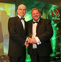 Thursday 10th May 2018 | Ulster Rugby Awards 2018<br /> <br /> Robin McCormick from SONI presents the youth category award to Noel Brown from Cooke Rugby Club, during the 2018 Heineken Ulster Rugby Awards at La Mom Hotel, Belfast. Photo by John Dickson / DICKSONDIGITAL