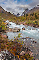 Arrigetch creek, Calaban, Arial and Xanadu, peaks in the distance, Arrigetch Peaks, Gates of the Arctic National park, Alaska.