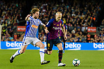 Andres Iniesta of FC Barcelona (R) in action against Asier Illarramendi Andonegi of Real Sociedad (L) during the La Liga match between Barcelona and Real Sociedad at Camp Nou on May 20, 2018 in Barcelona, Spain. Photo by Vicens Gimenez / Power Sport Images