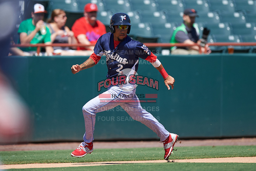 Reading Fightin Phils shortstop J.P. Crawford (2) rounds third during a game against the Bowie Baysox on July 22, 2015 at Prince George's Stadium in Bowie, Maryland.  Bowie defeated Reading 6-4.  (Mike Janes/Four Seam Images)