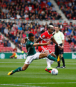 30th September 2017, Riverside Stadium, Middlesbrough, England; EFL Championship football, Middlesbrough versus Brentford;Nico Yennaris of Brentford challenges Adama Traore of Middlesbrough in the 2-2 draw