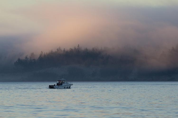 Power boat, Salmon fishing, Marrowstone Island, Olympic Peninsula, Puget Sound, Washington State, USA,