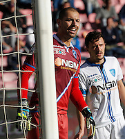Luigi Sepe    in action during the Italian Serie A soccer match between   SSC Napoli and Empolii    at San Paolo   stadium in Naples , December 07, 2014