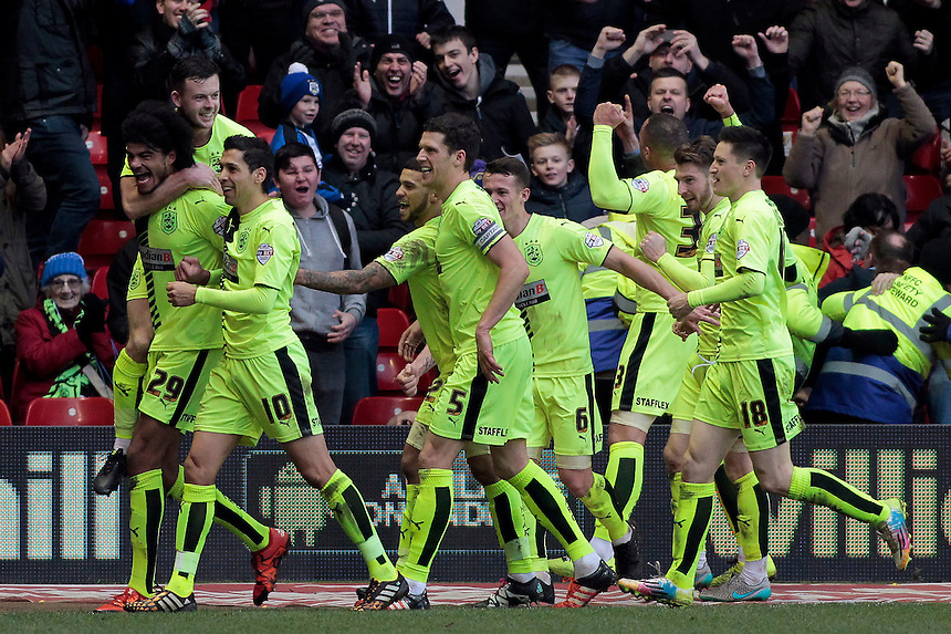 Huddersfield Town celebrate Philip Billing putting them 2-0 ahead<br /> <br /> Photographer David Shipman/CameraSport<br /> <br /> Football - The Football League Sky Bet Championship - Nottingham Forest v Huddersfield Town - Saturday 13th February 2016 - The City Ground - Nottingham<br /> <br /> <br /> &copy; CameraSport - 43 Linden Ave. Countesthorpe. Leicester. England. LE8 5PG - Tel: +44 (0) 116 277 4147 - admin@camerasport.com - www.camerasport.com