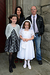 24/05/2015 – St. Mary's Communion – Amy Durney with her parents Paul and Suzanne and her sister Sarah.