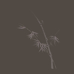 Elegant Japanese Zen ink painting of bamboo stalk with young leaves design illustration artwork on warm gray background