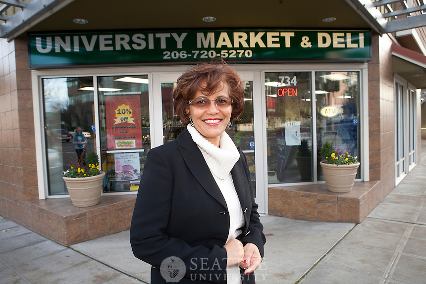 12132011 - Almaz Feissa, owner of University Market & Deli that sits across 12th street from campus.
