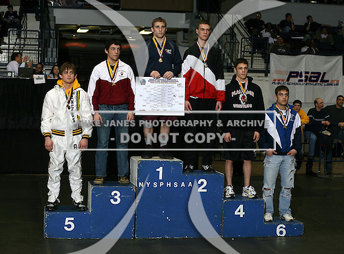 Zach Clemente (1st - Lasalle); Sean Floor (2nd - Port Jervis); Rob Troy (3rd - Walt Whitman); Rocky Cervini (4th - Plainedge High); Chris Collura (5th - Spencerport); Michael D'Amato (6th - Valley Central) pose on the podium for the Division One 140 weight class during the NY State Wrestling Championship finals at Blue Cross Arena on March 9, 2009 in Rochester, New York.  (Copyright Mike Janes Photography)