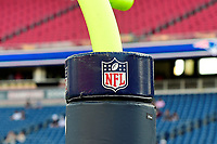 August 9, 2018: The BFL logo sits atop padding on a goal post at the NFL pre-season football game between the Washington Redskins and the New England Patriots at Gillette Stadium, in Foxborough, Massachusetts.The Patriots defeat the Redskins 26-17. Eric Canha/CSM
