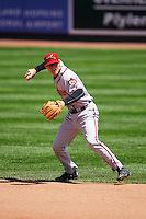 Richmond Flying Squirrels second baseman Kelby Tomlinson (1) throws to first during a game against the Erie Seawolves on May 20, 2015 at Jerry Uht Park in Erie, Pennsylvania.  Erie defeated Richmond 5-2.  (Mike Janes/Four Seam Images)