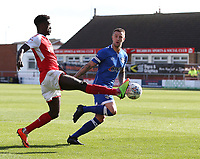 Fleetwood Town's Jordy Hiwula controls the ball under pressure from Oldham Athletic's Anthony Gerrard<br /> <br /> Photographer Stephen White/CameraSport<br /> <br /> The EFL Sky Bet League One - Fleetwood Town v Oldham Athletic - Saturday 9th September 2017 - Highbury Stadium - Fleetwood<br /> <br /> World Copyright &copy; 2017 CameraSport. All rights reserved. 43 Linden Ave. Countesthorpe. Leicester. England. LE8 5PG - Tel: +44 (0) 116 277 4147 - admin@camerasport.com - www.camerasport.com