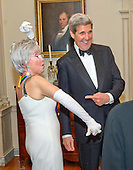 United States Secretary of State John F. Kerry and singer Rita Moreno, one of the five recipients of the 38th Annual Kennedy Center Honors, share a conversation following a dinner hosted by Secretary Kerry in their honor at the U.S. Department of State in Washington, D.C. on Saturday, December 5, 2015.  The 2015 honorees are: singer-songwriter Carole King, filmmaker George Lucas, actress and singer Rita Moreno, conductor Seiji Ozawa, and actress and Broadway star Cicely Tyson.<br /> Credit: Ron Sachs / Pool via CNP