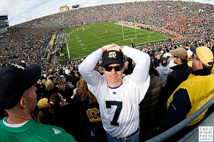 10/17/09 - South Bend, IN:  A Notre Dame fan reacts to a dropped interception by his team during their game against USC at Notre Dame Stadium on Saturday.  USC won the game 34-27 to extend its win streak over Notre Dame to 8 games.  Photo by Christopher McGuire.