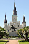 Jackson Square and Saint Louis Cathedral in New Orleans, Louisiana.