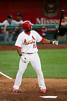 Xavier Scruggs (15) of the Springfield Cardinals at bat during a game against the Arkansas Travelers at Hammons Field on June 12, 2012 in Springfield, Missouri. (David Welker/Four Seam Images)