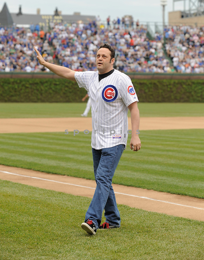 Chicago area native,  VINCE VAUGHN  visits the Chicago Cubs at Wrigley Field. He was there to throw out the first pitch before the Arizona Diamondbacks at the Chicago Cubs on April 30, 2010.  ..