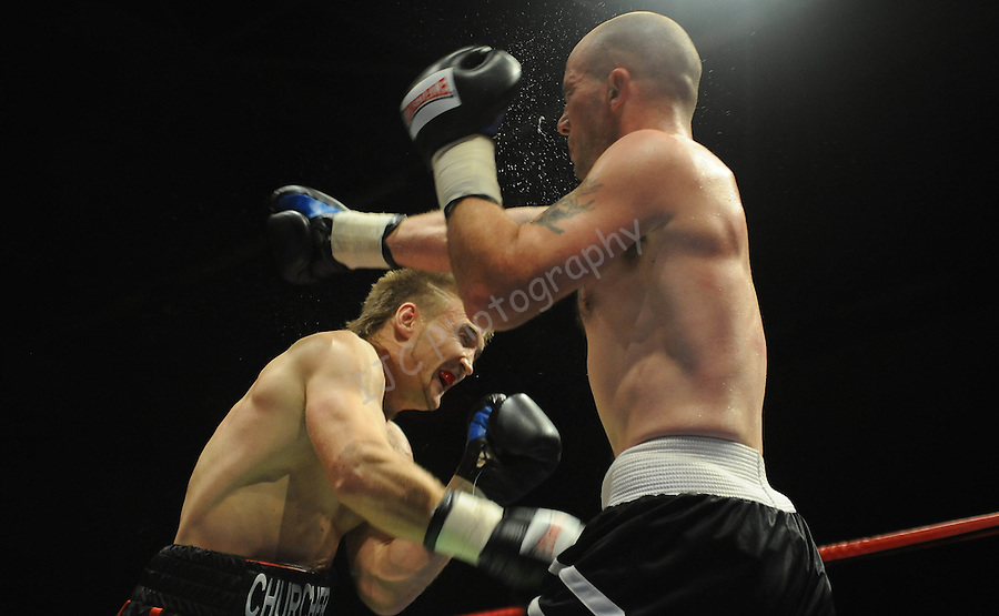 Lee Churcher (Camo shorts) V Lee Nickleson ( Black Shorts).Joe Calzaghe Promotions Boxing Evening .Date: Friday 20/11/2009,  .© Ian Cook IJC Photography, 07599826381, iancook@ijcphotography.co.uk,  www.ijcphotography.co.uk, .