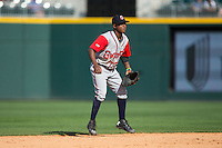 Gwinnett Braves shortstop Ozzie Albies (2) on defense against the Charlotte Knights at BB&T BallPark on May 22, 2016 in Charlotte, North Carolina.  The Knights defeated the Braves 9-8 in 11 innings.  (Brian Westerholt/Four Seam Images)
