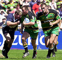 Sport , Rugby, Zurich Championship, 01/06/2002, Bristol v Northampton, Saint's Steve Thompson supported by Olivier Brouzet charge through the Bristol half   [Mandatory Credit, Peter Spurier/ Intersport Images].