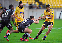 Rey Lee-Lo in action during the Super Rugby match between the Hurricanes and Sharks at Westpac Stadium, Wellington, New Zealand on Saturday, 9 May 2015. Photo: Dave Lintott / lintottphoto.co.nz