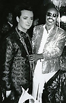 Boy George with Stevie Wonder<br /> during the taping of the television special 'Motown Returns to the Apollo,' Harlem, New York, May 4, 1985.